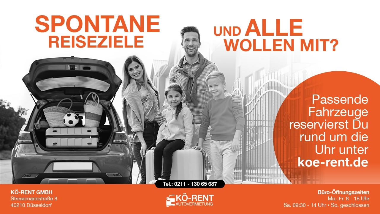 Autovermietung KÖ RENT Düsseldorf Anzeige SPONTANE ZIELE